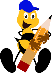 bee beside logo